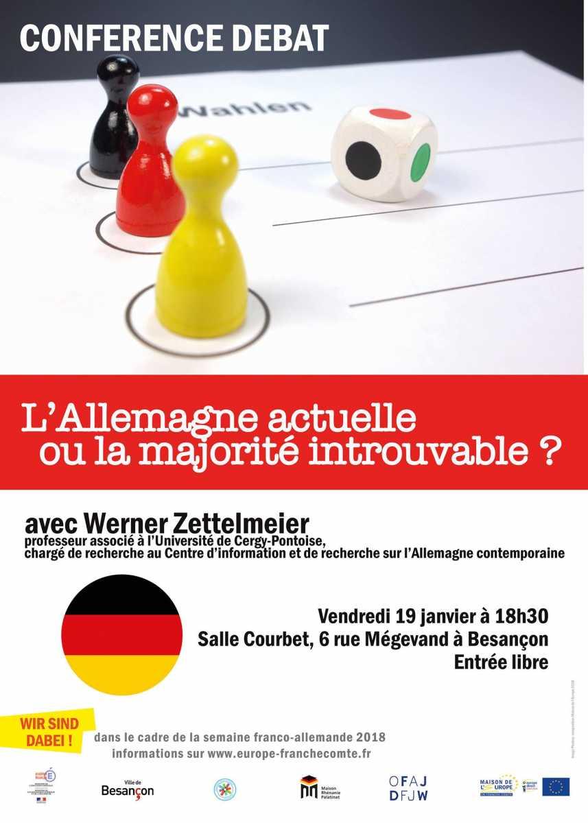 """Vendredi 19 janvier 2018 à 18h30 : Conférence-débat """"L'Allemagne actuelle ou la majorité introuvable?"""" (Besançon)"""