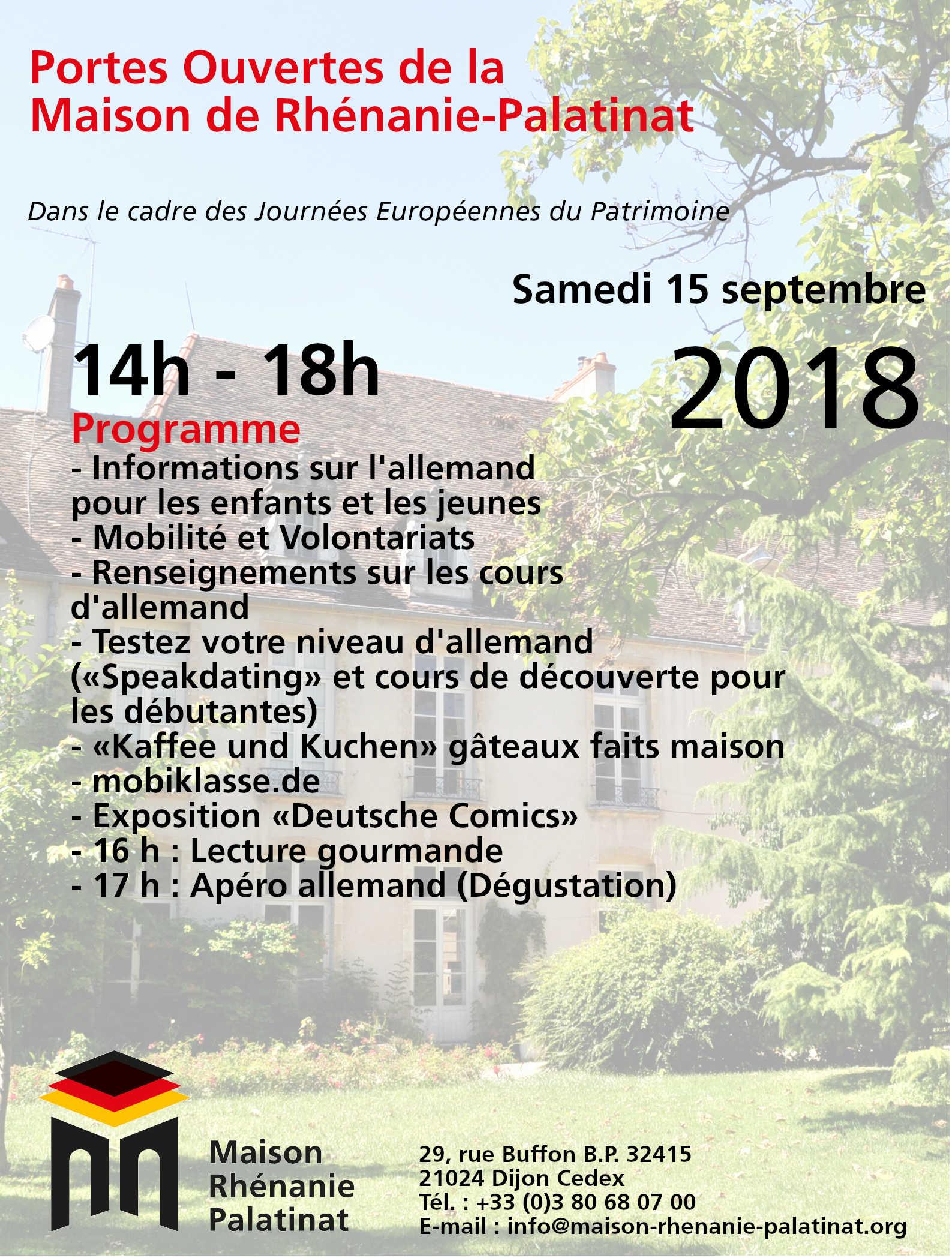 Samedi 15 septembre 2018 : Journée Portes-Ouvertes de la Maison de Rhénanie-Palatinat (Tag der offenen Tür )