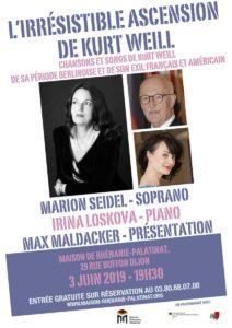 "Lundi 3 juin 2019 à 19h30  : Concert ""L'irrésistible ascension de Kurt Weill"""
