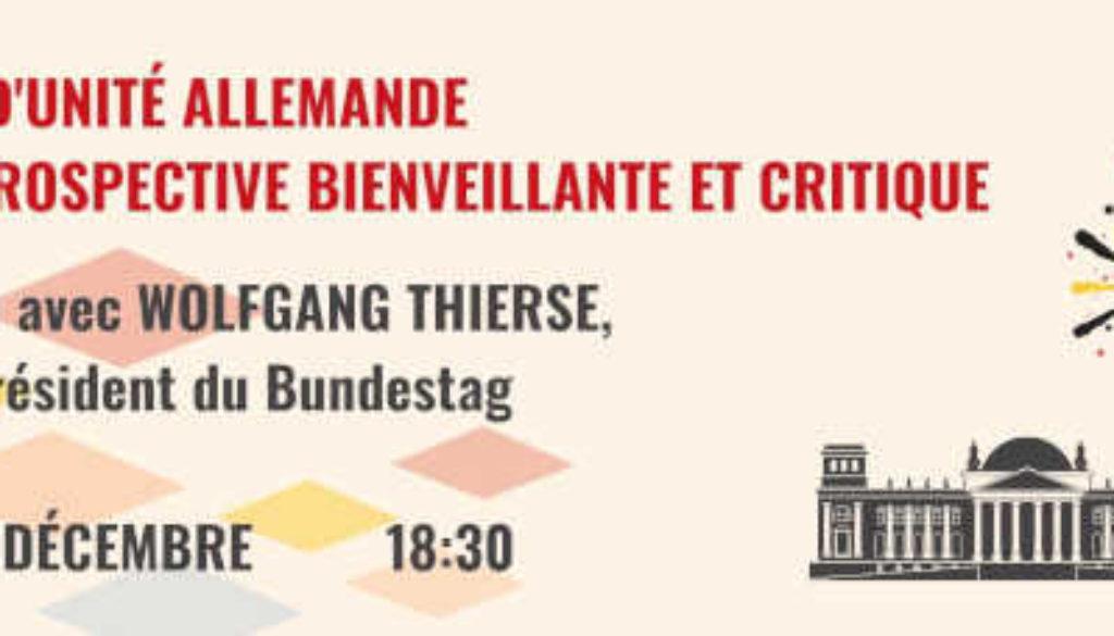 À ne pas manquer : Mardi 8 décembre 2020 à 18h30 : Conférence avec Wolfgang Thierse – En Ligne