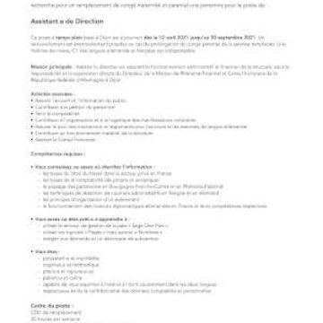 Offre de poste : Assistant.e de Direction à la Maison de Rhénanie-Palatinat