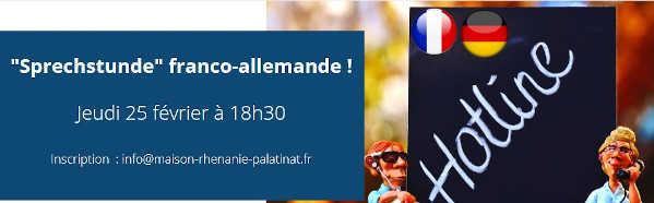 À ne pas manquer : jeudi 25 février 2021 à 18h30 : Sprechstunde franco-allemande et dimanche 28 février 2021 à 11h : Cinquième rencontre Ça rime ! – Ringelnatz