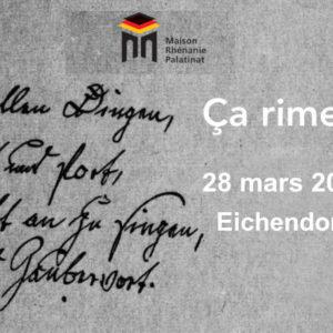 Dimanche 28 mars 2021 à 11h : Sixième rencontre Ça rime ! – Eichendorff