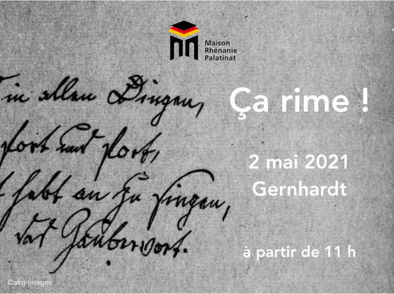 Dimanche 2 mai 2021 à 11h : Septième rencontre Ça rime ! – Gernhardt