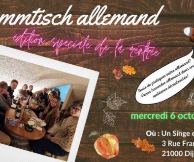 Mercredi 6 octobre 2021 à 19h : Stammtisch Allemand (édition spéciale rentrée 2021)